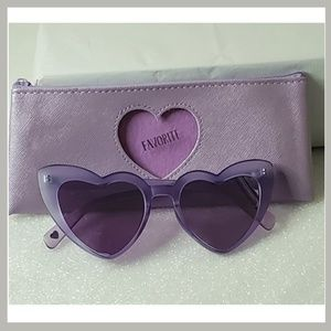 Betsey Johnson Lavender Heart Sunglasses with Case